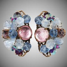 Pink and Blue Flower Cluster Art Glass Rhinestone Earrings Vintage