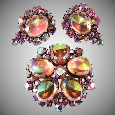 Pink Glass Faceted Ovals and Iridescent Rhinestones Brooch Earrings Set