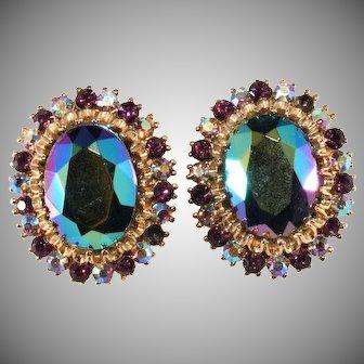 Purple and Iridescent Rhinestone Earrings 1960s Vintage
