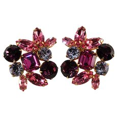 Purple and Pink LARGE Rhinestone Earrings Vintage