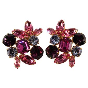 Purple and Pink LARGE Rhinestone Earrings Vintage