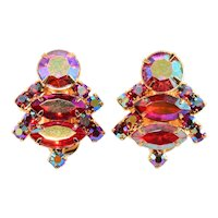 Vintage Earrings Red Iridescent Aurora Borealis Rhinestones 1960s