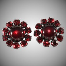 Red Rhinestone Cabachon Earrings Unmarked Vintage