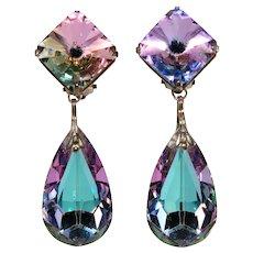 Earrings Square Rivoli and Teardrop Dangles Purple Blue Rhinestones Vintage