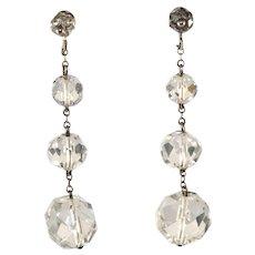 Rock Crystal Sterling Silver Dangle Earrings Vintage 1930s