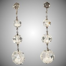 Rock Crystal Sterling Silver Dangle Earrings Vintage 1930s