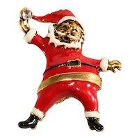 Spunky Santa Clause Pin Enameled Rhinestone Vintage 1960s Brooch