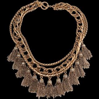Tassel Bib Necklace Clear Rhinestones Antiqued Gold Plating