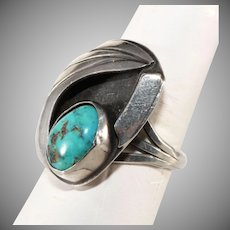Native American Style Turquoise Sterling Silver Ring