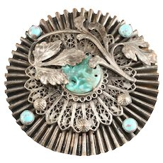 Unmarked Turquoise Glass Silver Colored Brooch Vintage
