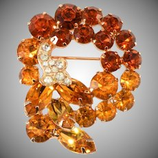 Unmarked Amber Orange Rhinestone Brooch Pin Vintage Like Weiss