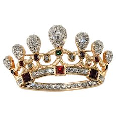 Jewel Tone Crown Pin Brooch Vintage 1980s