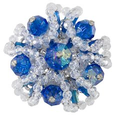 Vendome Brooch Pin Cluster Blue Clear Crystal Beads Prototype Rare VTG 1960s