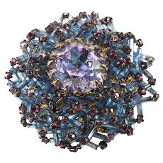 Vendome Alexandrite Bugle Bead Blue Brooch Pin Prototype