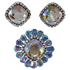 Vendome Iridescent Brooch and Earrings Set Vintage
