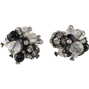 Vendome Black Beads and Clear Rhinestone Ball Earrings Vintage 1960s