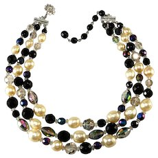 Vendome Black Beads & Faux Pearls with Crystals Necklace Vintage