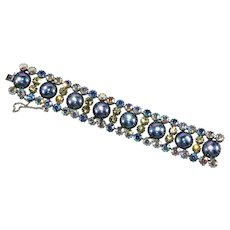Vendome Bracelet Iridescent Rhinestones Blue Cabochons Vintage