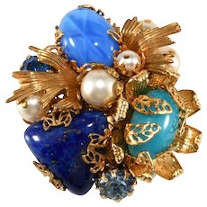 Vendome Prototype Blue Stone and Faux Pearl Brooch Pin Vintage