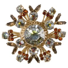 Vendome Green Orange Clear Rhinestone Brooch Pin Atomic Look 1950s
