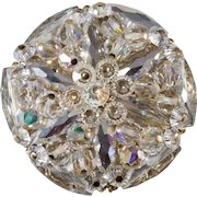 Unmarked Vendome Round Brooch Clear Crystal Beads
