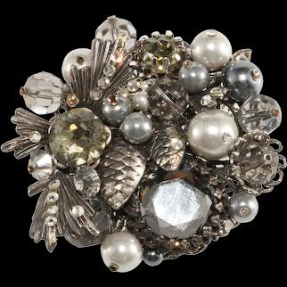 Vendome Brooch Prototype Gray Cluster Rhinestones Beads Vintage in Style of Miriam Haskell
