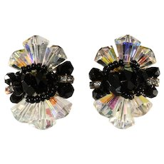 Vendome Clear and Black Crystal with Rhinestones Earrings