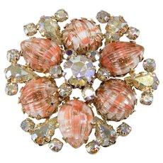 Vendome Coral Art Glass Iridescent Rhinestone Brooch Pin