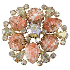 Vendome Coral Art Glass Iridescent Rhinestone Brooch Pin