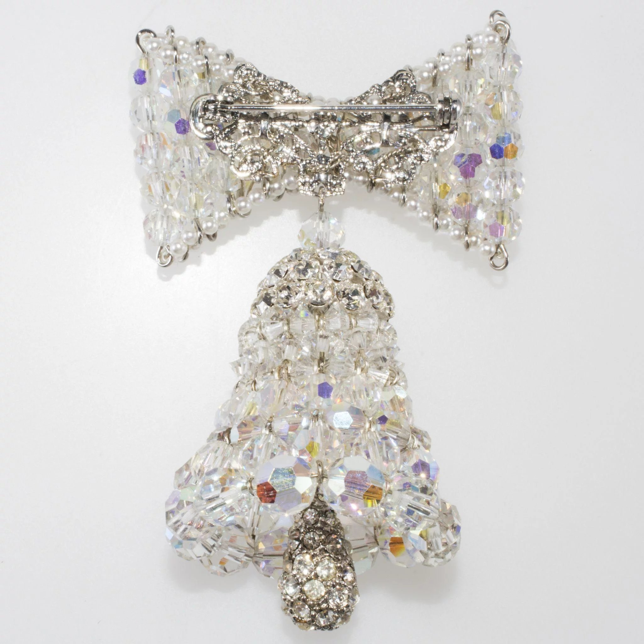 Vendome Prototype Crystal Bell Brooch Pin Christmas Or