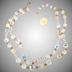 Vendome Two Strand Clear Crystal Necklace with Original Tag