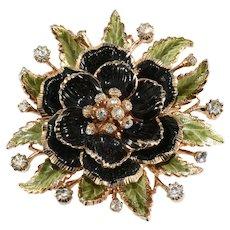 Vendome Brooch Flower Enameled Black Green Gold Plated Rhinestones Vintage