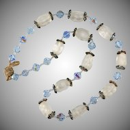 Vendome Blue and Frosted Bead Rhinestone Necklace Vintage