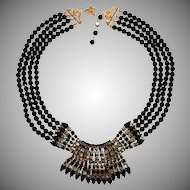 Vendome Smoke Gray and Black Art Deco Revival Necklace