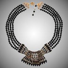 Vendome Smoke Gray and Black Art Deco Revival Necklace