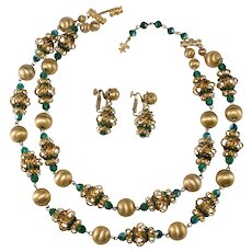 Vendome Emerald Green and Gold Necklace Earrings Set Vintage