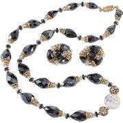 Vendome Hematite Bead Rhinestones Crystals Necklace Earrings Set