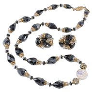 Vendome Hematite Bead Rhinestones Crystals Necklace Earrings Set