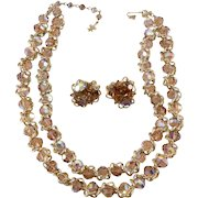 Vendome Mink Brown Bead and Gold Chain Necklace Earrings Set Vintage