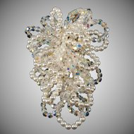 Vendome Looping Faux Pearls and Crystals LARGE Brooch