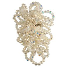 Vendome Brooch LARGE 3.75 Inch Prototype Looping Faux Pearl Crystals Vintage Pin
