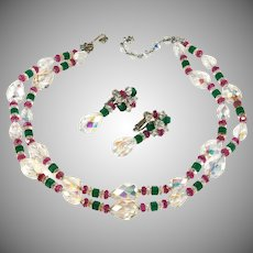 Vendome Pink and Green Crystal Bead Necklace Earrings Set