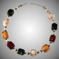 Multicolor Square Venetian Glass Beads Necklace