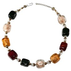 Multicolor Square Venetian Glass Beads Necklace