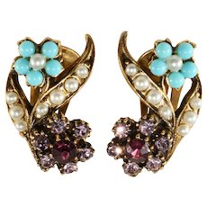 Victorian Revival 1960s Purple Turquoise Flower Earrings Unmarked