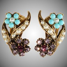 Victorian Revival 1960s Purple Turquoise Flower Earrings Unmarked