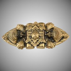 Victorian Revival 1930s Baroque Shell Motif Brooch Pin Vintage
