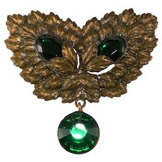 Victorian LARGE Brooch with Brass Setting and Green Rhinestones