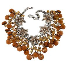 Lawrence Vrba HUGE Amber Glass Dangle Rhinestone Bib Necklace