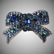 Lawrence Vrba 4.5 Inch Blue Rhinestone Bow Brooch Pin